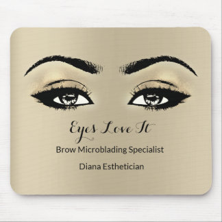 Ivory Gold Sepia Branding Beauty Lashes Extension Mouse Pad