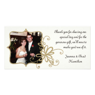 Ivory & Gold Wedding Photo Thank You Card