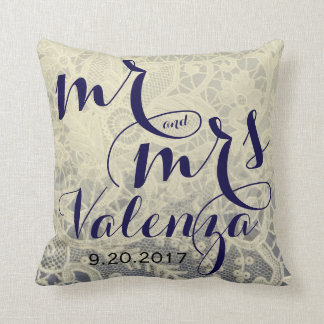 Ivory Lace Blue Two Tone Wedding Newlywed Gift Throw Pillow
