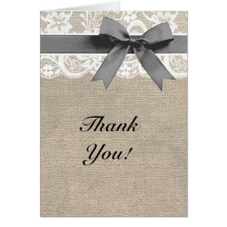 Ivory Lace Burlap and Gray Thank You Card