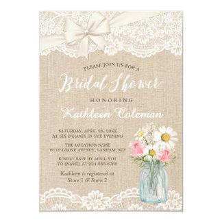 Ivory Lace Burlap Mason Jar Floral Bridal Shower Card
