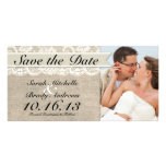 Ivory Lace & Burlap Vintage Save the Date - Ivory Custom Photo Card