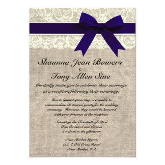 "Ivory Lace Navy Blue Burlap Wedding Reception 5"" X 7"" Invitation Card"
