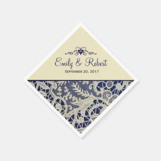 Ivory Lace Navy Blue Elegant Formal Wedding Paper Napkins