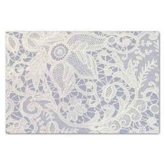 Ivory Lace Navy Blue Elegant Wedding Gift Tissue Paper