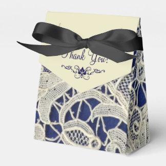 Ivory Lace Navy Blue Elegant Wedding Thank You Favor Box