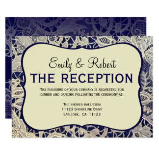 Ivory Lace Navy Blue Formal Wedding Reception Card