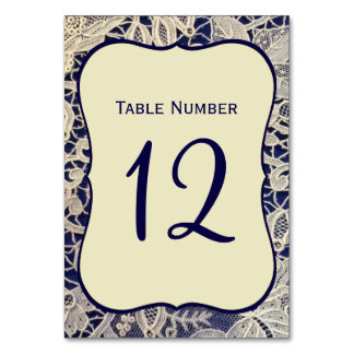 Ivory Lace Navy Blue Formal Wedding Table Number Table Cards
