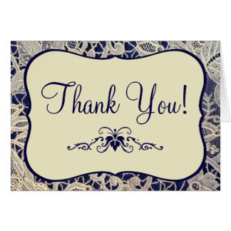 Ivory Lace Navy Blue Formal Wedding Thank You Card