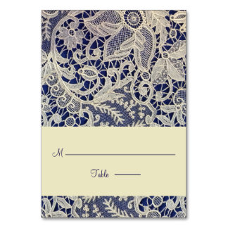 Ivory Lace Navy Blue Modern Wedding Escort Place Table Card
