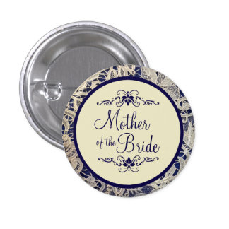 Ivory Lace Navy Blue Wedding Mother of the Bride 1 Inch Round Button