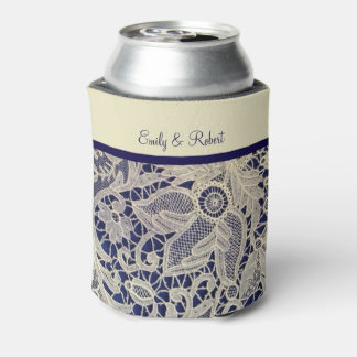 Ivory Lace Royal Navy Blue Formal Reception Can Cooler