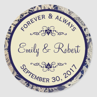 Ivory Lace Royal Navy Blue Formal Wedding Classic Round Sticker