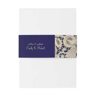 Ivory Lace Royal Navy Blue Formal Wedding Invitation Belly Band