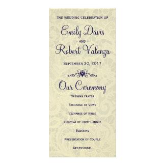 Ivory Lace Royal Navy Blue Formal Wedding Program Full Colour Rack Card