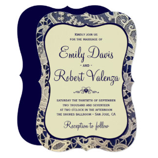 Ivory Lace Royal Navy Blue Modern Formal Wedding Card