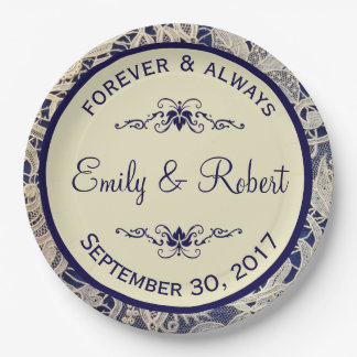Ivory Lace Royal Navy Blue Reception | Shower 9 Inch Paper Plate