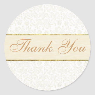Ivory Lace Thank You Sticker Seal