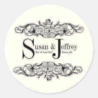 Ivory Monogram Logo Names Date Wedding Label Round Sticker