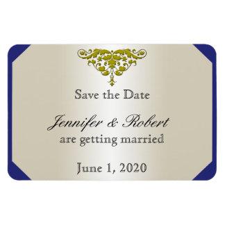 Ivory Navy Gold Damask Wedding Save the Date Rectangular Photo Magnet