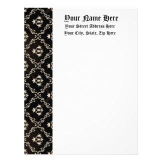 Ivory on Black Baroque Old English Formal Letterhead Design