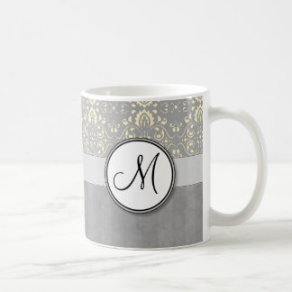Ivory on Silver Damask and Stripes with Monogram Coffee Mug