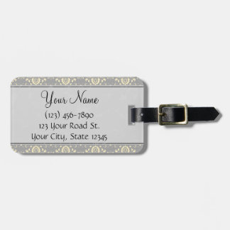 Ivory on Silver Damask and Stripes with Monogram Luggage Tag