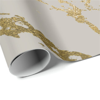 Ivory Pastel Creamy Gold Marble Shiny Glam Wrapping Paper