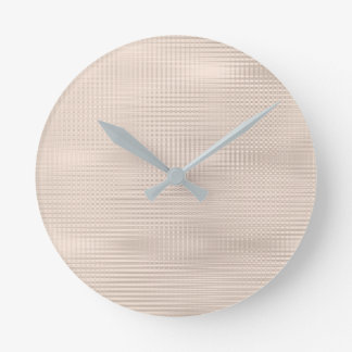 Ivory Pastel Silver Gray Minimal Metallic Stripes Round Clock