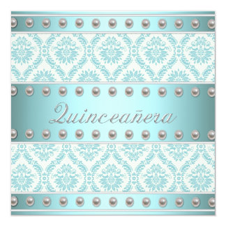 """Ivory Pearls Teal Blue White Damask Quinceanera 5.25"""" Square Invitation Card"""