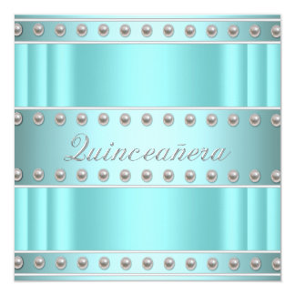 """Ivory Pearls Teal Blue White Quinceanera 5.25"""" Square Invitation Card"""