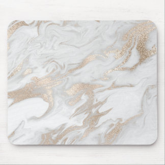 Ivory Pearly Titanium Gold White Gray Marble Mouse Pad