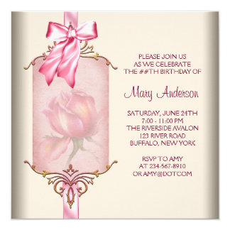 """Ivory Pink Rose Womans Birthday Party 5.25"""" Square Invitation Card"""