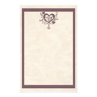 Ivory Plum Heart Stationery