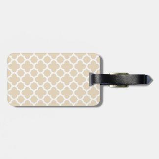 Ivory Quatrefoil Trellis Pattern Luggage Tag