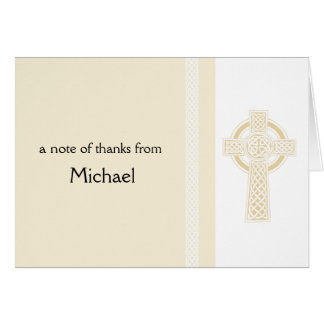 Ivory Religious Cross  Thank You Card