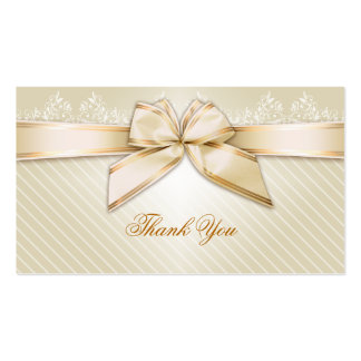 Ivory Ribbon Gold Stripes Thank You Pack Of Standard Business Cards