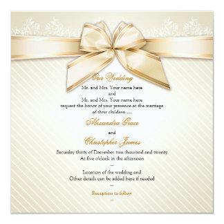 Ivory Ribbon Gold Stripes Wedding Invitation S2
