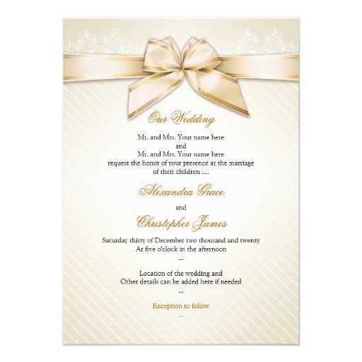 Ivory Ribbon Gold Stripes Wedding Invitation S3