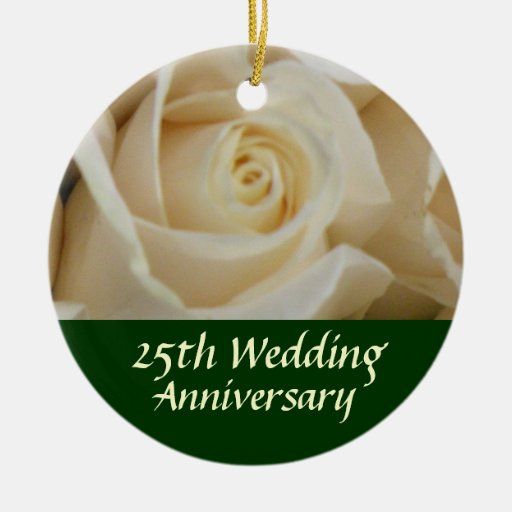 Ivory Rose 25th Anniversary Tree Ornament Zazzle