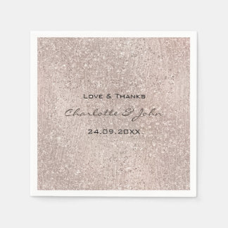 Ivory Rose Gold Blush Glitter Name Thank Bridal Paper Napkin