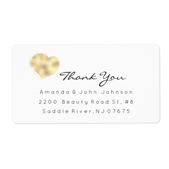 Ivory Rose Gold Heart Brush Stroke Thank You Shipping Label