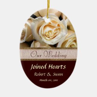 Ivory Rose Wedding Favor Keepsake Ceramic Ornament