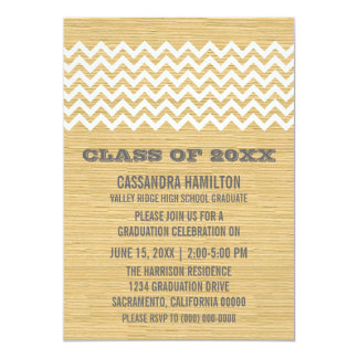 Ivory Rustic Chevron Graduation Invite