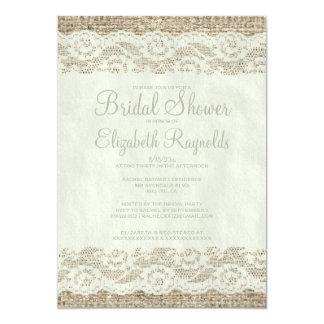 "Ivory Rustic Lace Bridal Shower Invitations 5"" X 7"" Invitation Card"