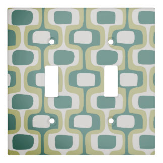 Ivory Sage Green Olive  Mid-Century Modern Pattern Light Switch Cover