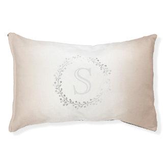 Ivory Silver Wreath Monogram Princess Pet Bed