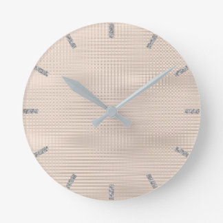 Ivory Skinny Silver Gray Minimal Metallic Stripes Round Clock