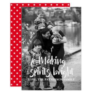 Ivory Starry Making Spirits Bright Holiday Photo Card