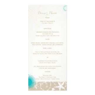 Ivory Taupe Teal Beach Starfish Wedding Menu Custom Rack Card